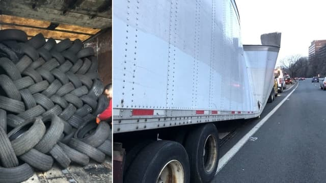 There were an estimated 1,250 tires on the trailer.