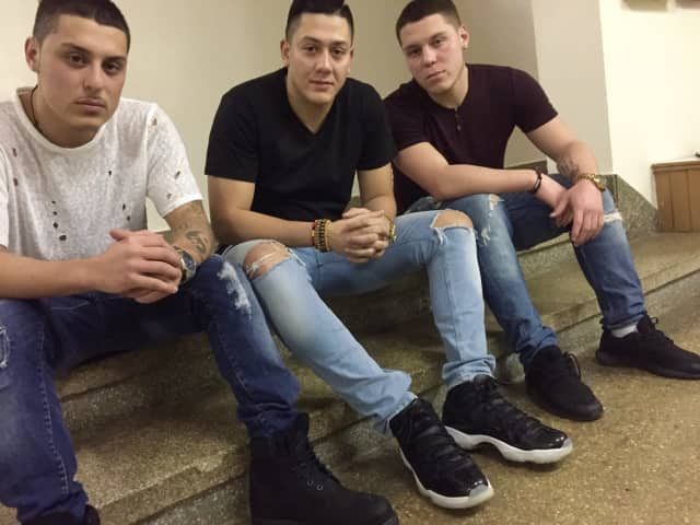 From left: Brandon Murillo, 20, Juan Correa, 25, and Andre Murillo, 23, all of Fort Lee.