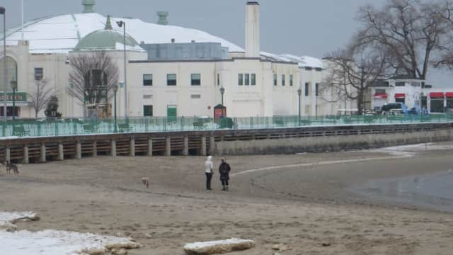 Dog walkers along Rye Playland's beach and boardwalk. State environmental officials accuse the City of Rye of allowing raw sewage to spill into Long Island Sound.