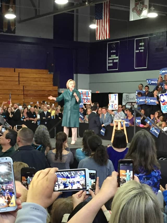 Hillary Clinton arrives to speak to the crowd at the University of Bridgeport Sunday.