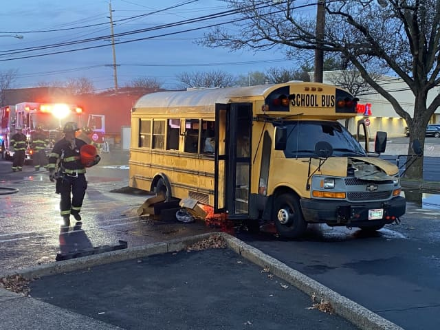 Firefighters doused the fire aboard the school bus on Route 17 in Paramus.