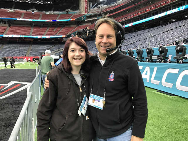 Design Tech student Megan Seibel, left, with Purchase College Professor Dave Grill at the Super Bowl.