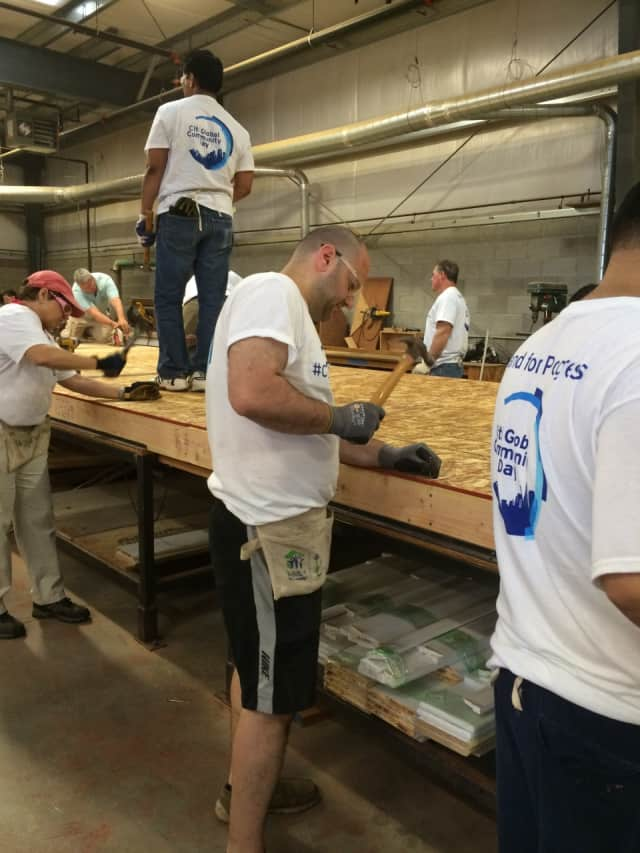 Citi volunteers build walls for a Habitat for Humanity home.
