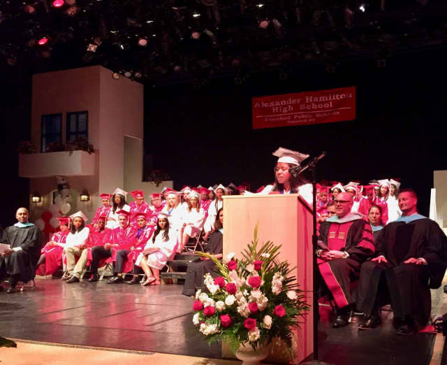 Lara Malaver speaks at the Alexander Hamilton High School commencement.