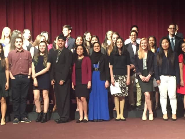 These Leonia High School students who were inducted Tuesday into the Marketing Business Leadership Academy.