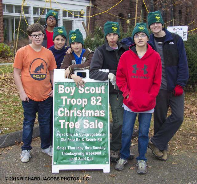 Members of Boy Scout Troop 82 will be selling Christmas trees and wreaths at 148 Beach Road.