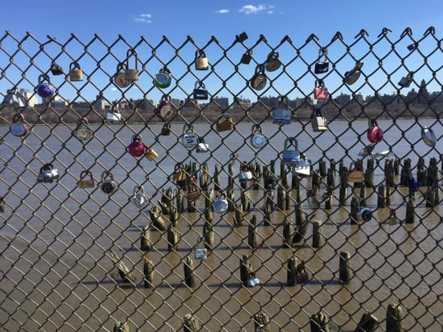 Padlocks are slowly being added to a fence in Edgewater's Riverwalk.
