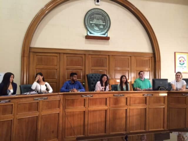 Students from Bergenfield High School got to briefly assume at least the physical seats of power on Tuesday.