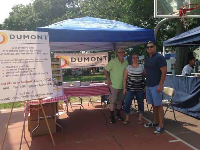 Left to right: Dumont Community Group board Member Ken Melamed, Secretary Karen Prinz Cunanan and President/Founder Andrew LaBruno.