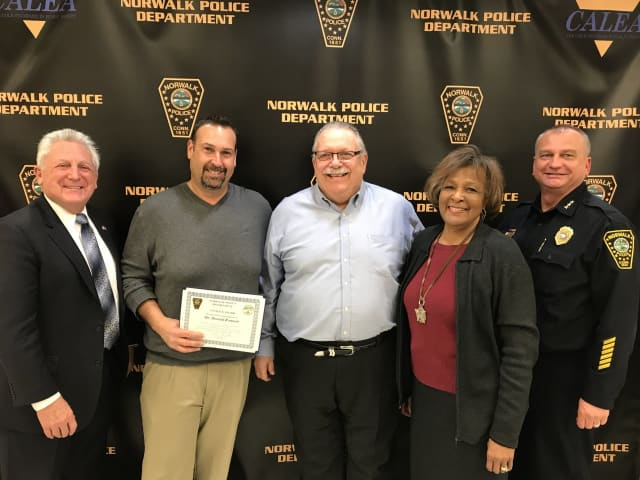 L-R: Mayor Harry Rilling, Donald Remson, Commissioner Charles Yost, Commissioner Fran Collier-Clemmons and Chief Thomas Kulhawik (Garcia was unable to attend the ceremony)