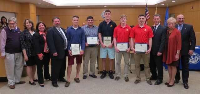 The Bergen County Board of Chosen Freeholders on Wednesday honored six high school wrestlers from Bergen County who recently won the 2015-2016 NJSIAA state wrestling championships.
