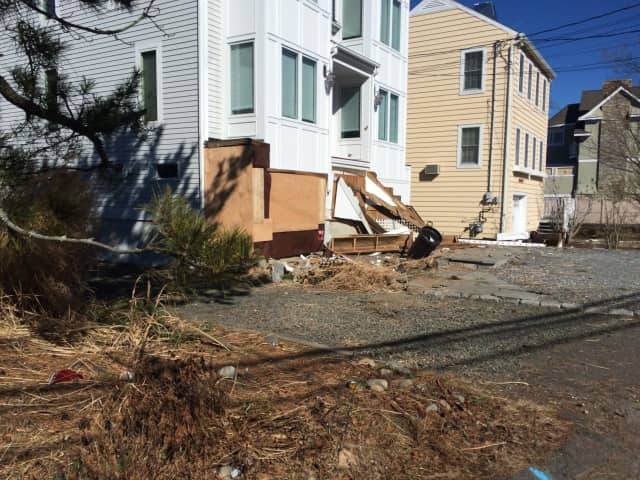 A speeding truck slammed into this home on Fairfield Beach Road, destroying its front steps Sunday night.