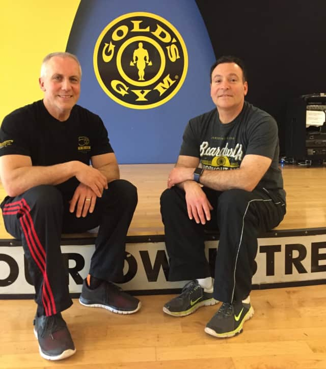 Art Carril, left, and Mike Epstein opened Gold's Gym in Paramus 25 years ago May 26.
