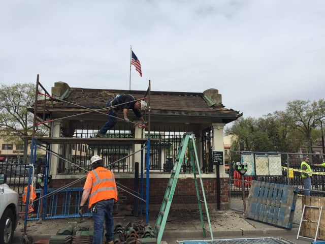 Work begins at the Ridgewood Train Station.