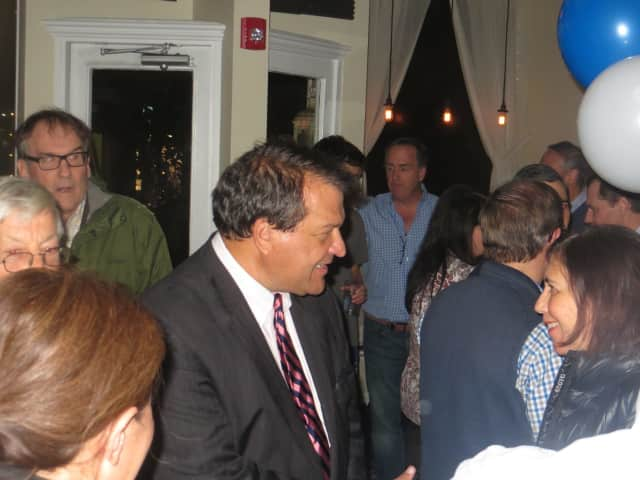 "State Sen. George Latimer thanked supporters on Tuesday night during the first of three ""election celebration"" parties at Rosemary & Vine restaurant in his hometown of Rye. The Democrat led Westchester County Executive Rob Astorino, a Republican."