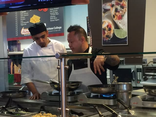 Celebrity Chef Jet Tila, right, with assistant at Purchase College.
