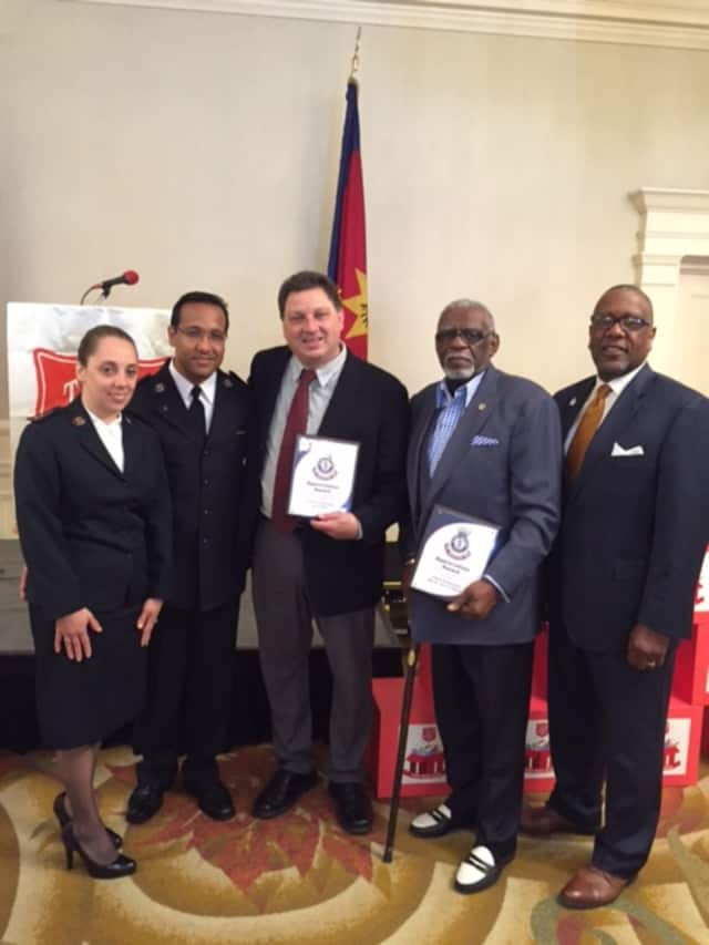 Donald Whitely, Captain Giovanny Guerrero and Captain Ester Guerrero of Tarrytown Salvation Army presented the Lifetime Achievement Award to Rev. Dr. John H. Gilmore; Community Service Award to Joe Arduino; and Corporate Award to Prestige Brands.