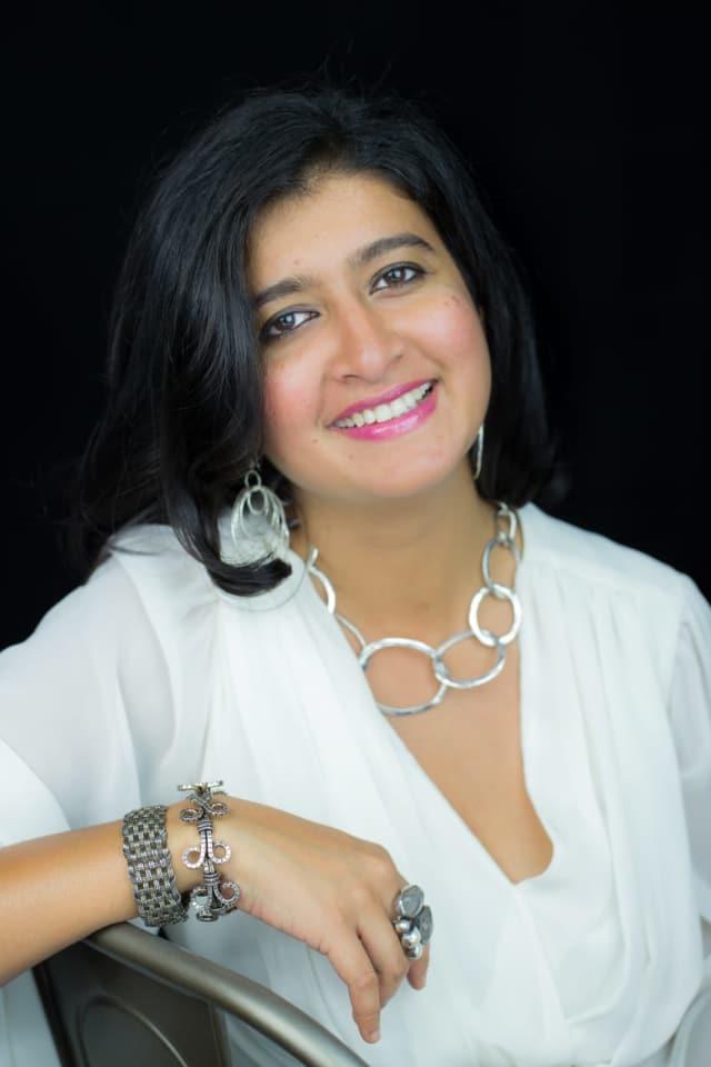 Supriya Kapur of Glen Rock wears her own designs, handmade in New Delhi.