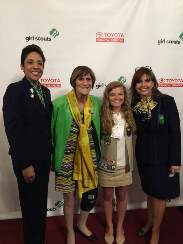 Girl Scouts' National CEO Anna Maria Chávez, U.S. Rep. Rosa DeLauro, Girl Scouts of Connecticut's spokesperson for Gold Award Centennial, Girl Scout Grace Anne Herrick of Newtown and National Board President Kathy Hopinkah Hannan.
