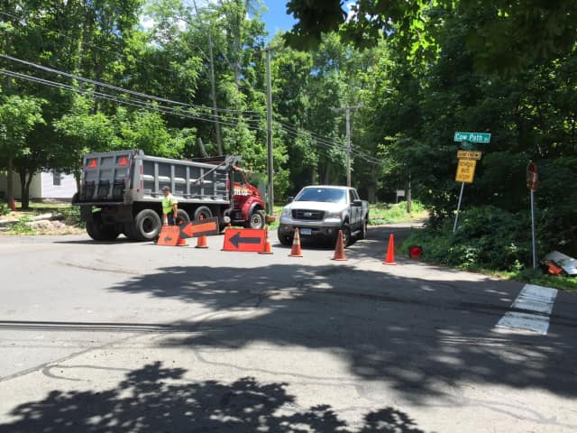 Westover Road in Stamford is closed for construction work on Thursday.