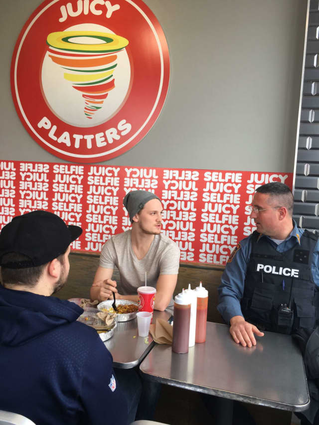 Officer Gerard Graziano stopped by Juicy Platters during a recent lunch.