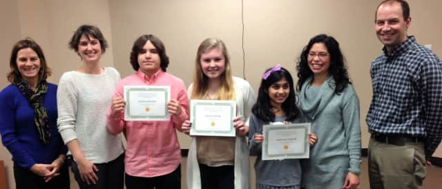 From left: Martha Urbiel of Westwood Library; Tania Pinto, Juniors Club president; Gavin Gertson of Park Ridge; Kiera Foster of Hillsdale; Anvitha Sandur of Montvale; Jenna Russo of the Juniors Club, and Adam Leone of Modera Wealth Management.