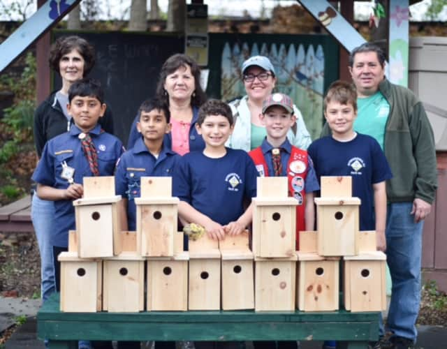Local Scouts built and donated birdhouses to the Rutherford Community Teaching Garden.