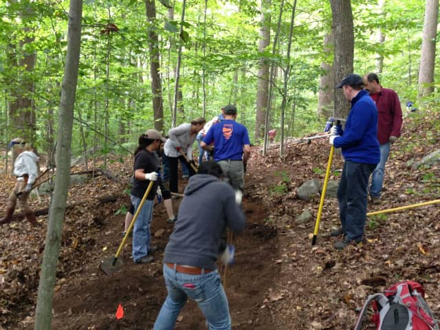 Volunteers from the previous NRWA trail-building event in September 2016 working at Quarry Head Park, Wilton.
