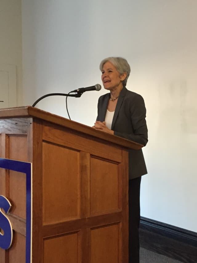 Green Party Presidential Candidate Jill Stein speaks to an audience at the Stamford Innovation Center Thursday.