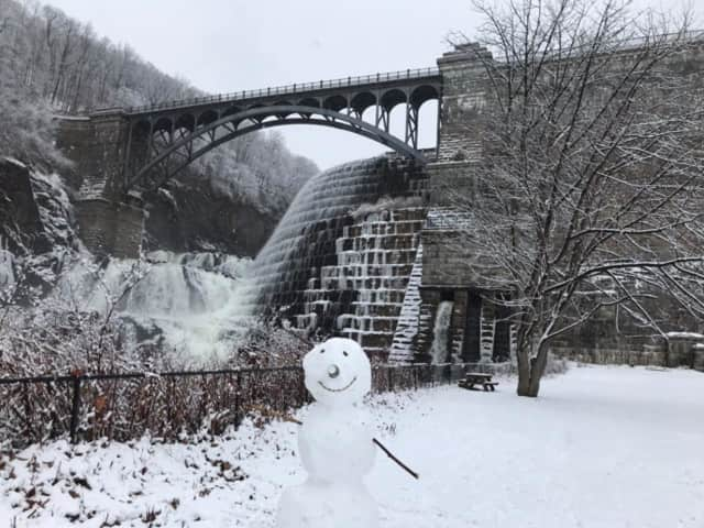 Snowman at Croton Dam in Northern Westchester.