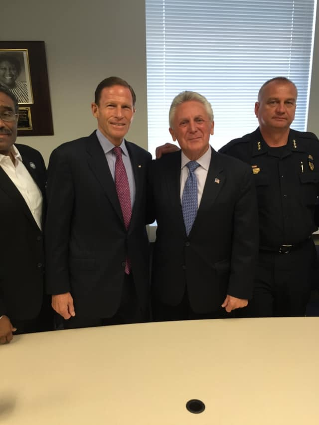 U.S. Senator Richard Blumenthal and Mayor Harry Rilling attended a roundtable discussion on increasing trust between police and communities of color Friday.