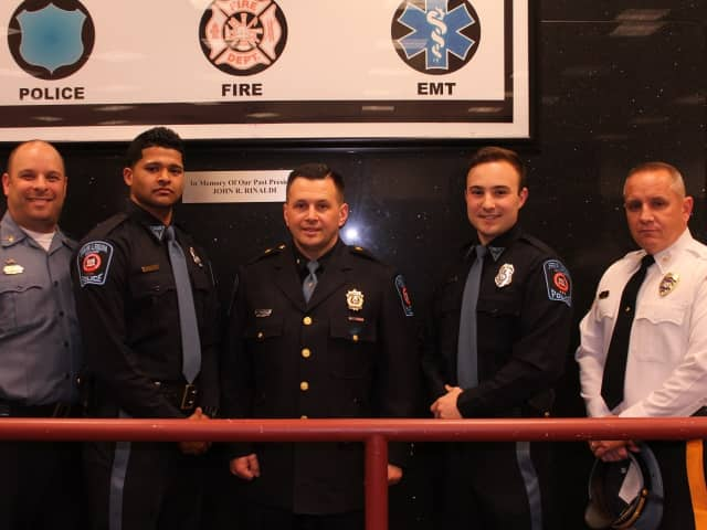 From left: Police Sgt. Brian Metzler (the Auxiliary Police director) A.P.O. Jibin John, Aux/Chief Nicholas Magarelli, A.P.O. Michael Moore, Fair Lawn Police Chief Glen Cauwels