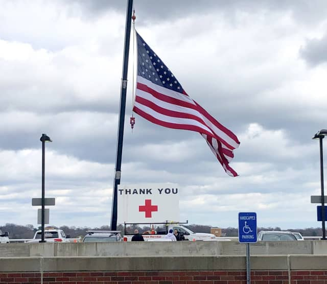 """""""I just wanted to communicate thanks through this sign and show community support,"""" said DeLucia. """"We're hearing what they're going through and how hard they're working—all of them: doctors, nurses, technicians, sanitation, facilities."""""""