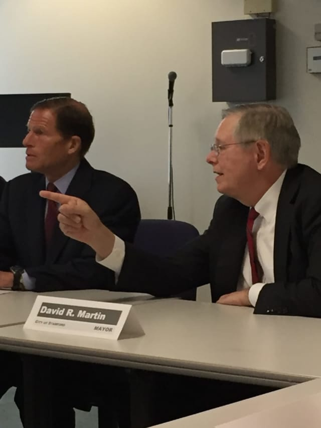 U.S. Sen. Richard Blumenthal (D-Conn.) lead a roundtable discussion with several community leaders at the Stamford Government Center on Wednesday morning.