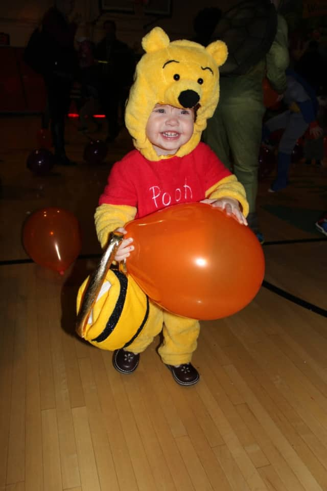 A young trick-or-treater at the YMCA Halloween Party in Darien.