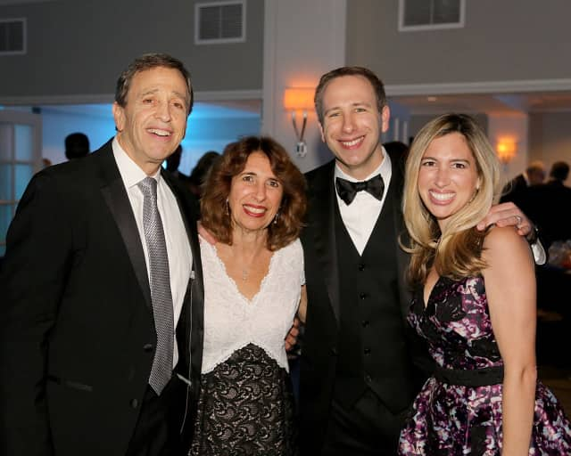 Martin Schwartz, left, celebrates this special moment with his wife Elaine, son Michael of Scarsdale, New York, and daughter Allyson Mandelbaum of Fairfield.