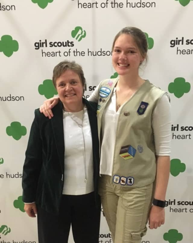 Girl Scout Gold Award recipient Isabel Anzani with Regina Hertl, Girl Scout Gold Award mentor.