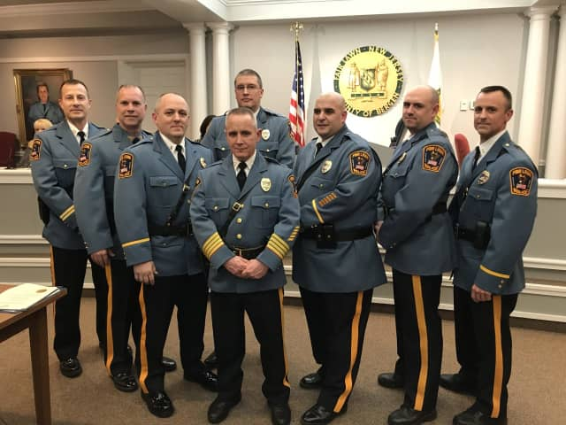 From left: Capt Ron Patterson, Lt. Jim Krizek, Sgt. Peter Yuskaitis, Capt. Joe Dawicki, Chief Glen Cauwels, Capt. Brian LaRosa , Lt. Tim O'Shaughnessy and Lt. Paul Scott