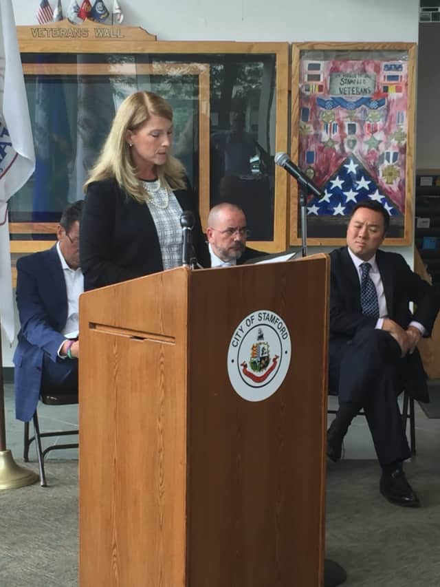 Darien First Selectman Jayme Stevenson speaks at an opioid overdose awareness event in Stamford Wednesday. Darien -- along with communities across the state -- are grappling with opioid and prescription medication overdoses.