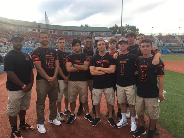 "The 2015 Tuckahoe varsity football team at Dutchess Stadium at ""Champions Night."""