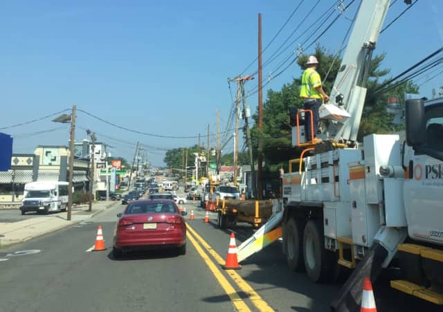 Pole work ties up traffic in Hackensack.