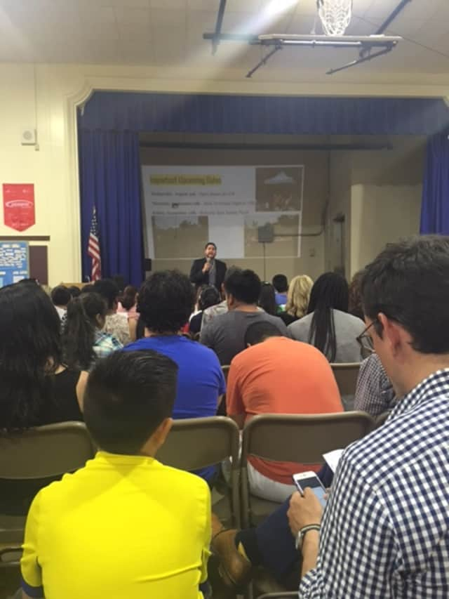 Students and parents attended a recent fifth- grade orientation meeting at the Roosevelt School in Ossining.