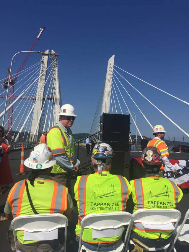 Workers on the Tappan Zee Bridge.