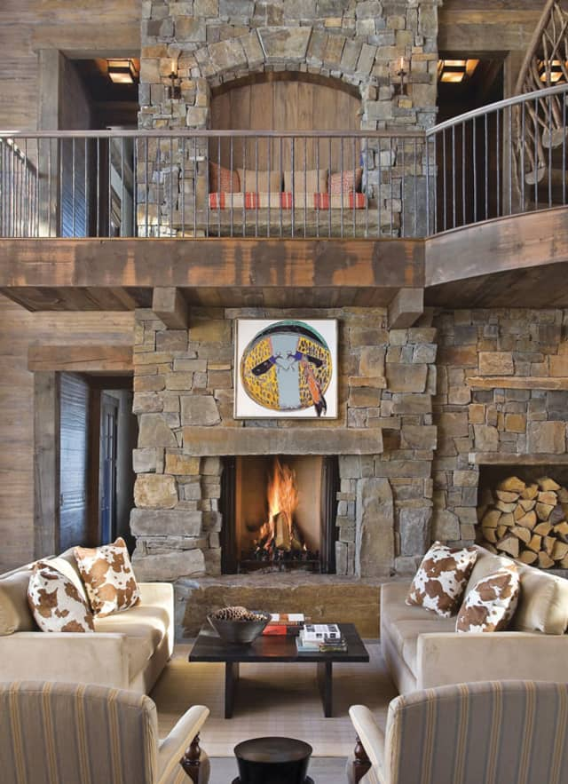 A lodge-style house in Montana's Big Sky country with architecture by Brooks & Falotico and interiors by Lynn Morgan Design. Photographs courtesy Lynn Morgan Design.