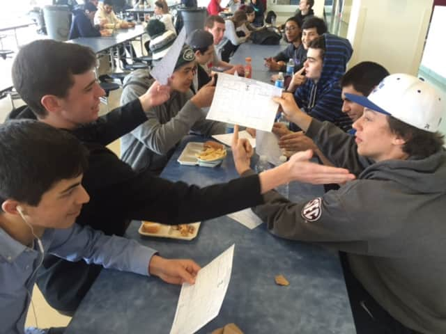 Students filling out and discussing their bracket choices during Hendrick Hudson High School's March Madness History Bracket challenge.