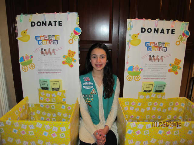 Girl Scout Juliette Voskian is organizing a diaper drive over the next two months for a community service project.