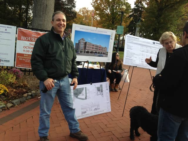 Mayor Paul Aronsohn and Village Manager Roberta Sonenfeld brief guests on Ridgewood's proposed parking garage during Halloween festivities on Oct. 31.