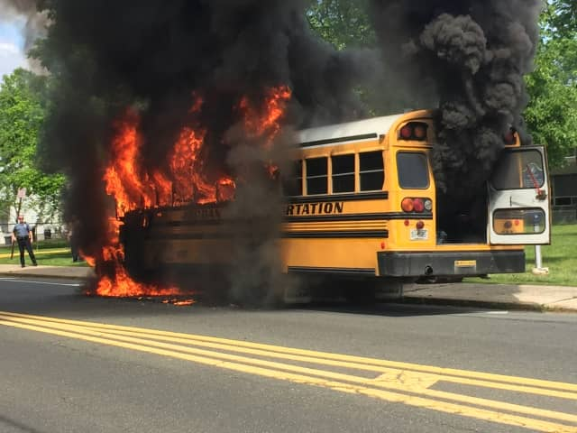 A school bus caught fire Monday afternoon near a Paramus middle school.