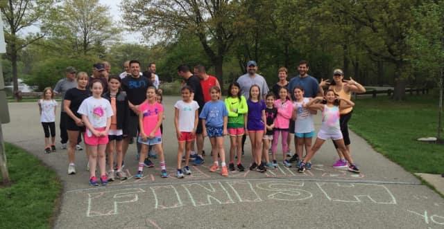 Coleman's Girls on the Run team before its practice 5K in Glen Rock.