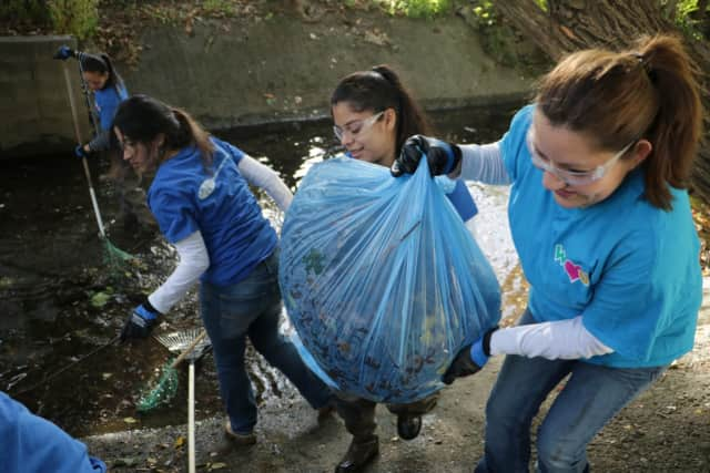 Volunteers pitched in to clean a section of Wolf Creek in Ridgefield Sunday.